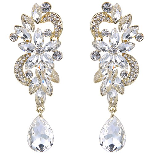 Clearine Damen Böhmisch Kristall Blume Hochzeit Braut Chandelier Tropfen Bling Dangle Statement Ohrringe Gold-Ton