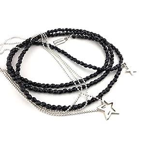 2 x Ketten als Set, Y-Kette lang schwarz glänzend funkelnde Glasperlen & zierliche Kette aus silberfarbenen Metallperlchen