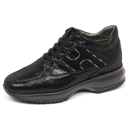 Hogan Hogan E4250 Sneaker Donna Nero Interactive Scarpe Stampa rettile Shoe Woman