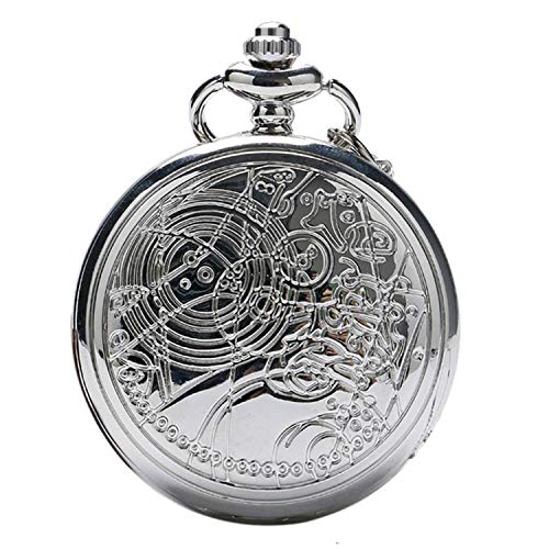 Doctor Who Quarz-Taschenuhr für Herren/Jungen in einem Retro-/Vintage-Gehäuse aus poliertem Silber, Savonnette, an einer 80cm (32 Zoll) Kette, auch als Halskette verwendbar