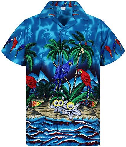 V.H.O. Funky Camisa Hawaiana, Parrot, Turquesa, 3XL
