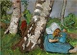 Leinwandbild 100 x 70 cm: Kind mit Puppe am Birkenstamm sitzend von Paula Modersohn-Becker/ARTOTHEK - fertiges Wandbild, Bild auf Keilrahmen, Fertigbild auf Echter Leinwand, Leinwanddruck