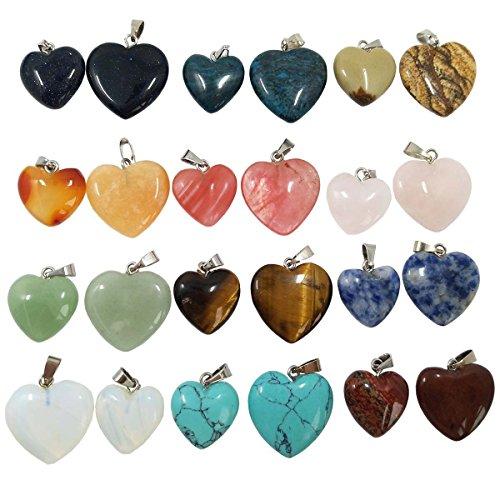SuperHandwerk 24 pcs Pendentifs en Pierre en Forme de Cœur,12p x 16 mm (0.63 inch) Stone pendants + 12p x 20 mm (0.79 inch) Stone pendants,Assortiment de Couleur