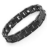 Urban Jewelry Herren-Magnetarmband Titan Link Armreif Armband 22cm (schwarz)