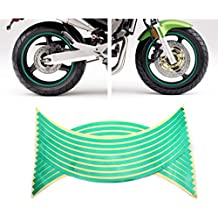HuntGold 2X Moda Rueda Neumático reflectante Tiras de 16Bicicleta Motocicleta Coche Adhesivo (Verde)
