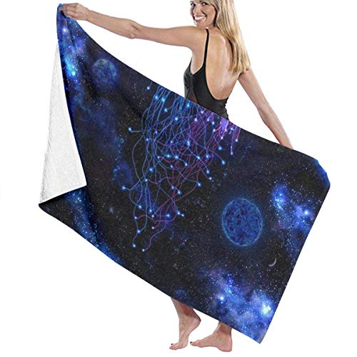 Beach Towels Decor Polyester Fiber Cosmic Galaxy Under Sea Ocean Jellyfish Bath Towels Oversized Soft Super Absorbent and Fast Drying No Fading Multipurpose Use for Sports Travel Yoga Shower