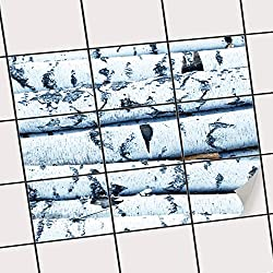 creatisto Sticker-Fliesen | Selbstklebende Fliesenfolie Badezimmerfolie Dekorfolie Badgestaltung | 25x20 cm Erholung Wellness Weisses Buschwerk - 9 Stück
