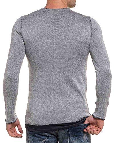 BLZ jeans - Art und Weise durchlöchert grauen Pullover mit übergroßen koksgrau Patch Grau