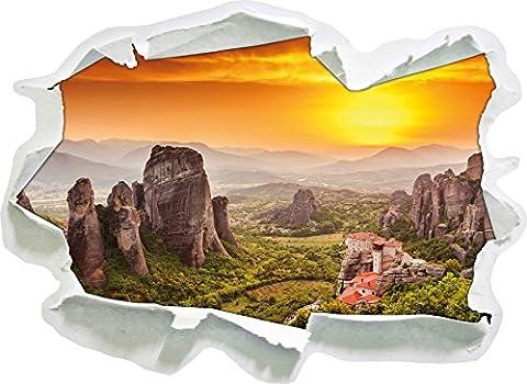 Maisons sur les rochers, papier 3D sticker mural taille: 62x45 cm décoration murale 3D Stickers muraux Stickers