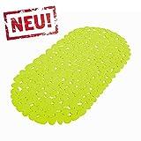 Grüne Anti Rutsch Matte für die Badewanne - Wanneneinlage mit Saugnäpfen - Schadstofffreie Wannenmatte in schöner Kieseldekor Steinoptik - Größe: 68 x 35cm