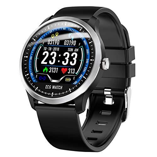 ZMCY Smart Watch, N58 IP67 wasserdichte Sportuhr Fitness Tracker mit Herzfrequenzmesser EKG + PPG Maßnahme Kompatibel Android Ios,Blacksiliconebelt