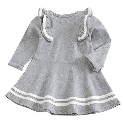 Kleinkind Kind Solide Streifen Party Prinzessin Kleid Kleine Lange Ärmel Rüschen Oberteile