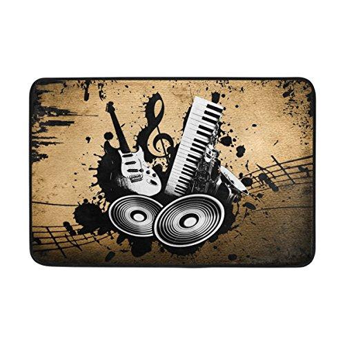 Musikinstrumente-Fußmatte waschbar Garten Büro Fußmatte, Küche ESS-Living Badezimmer Pet Eintrag Teppiche mit Rutschfeste Unterseite 59,9x 39,9cm (Musik Halloween-kürbis)