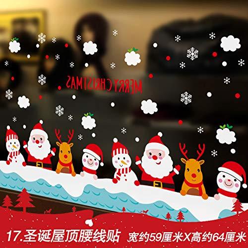 HAPPYLR Mall Shop Neujahr Fensteraufkleber Weihnachten Schneeflocke Aufkleber Glas Wandaufkleber Ornamente dekorative Aufkleber Aufkleber, 17. Weihnachten Dach Taille Linie Aufkleber, extra groß -