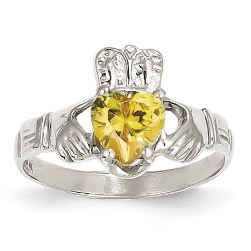 14k oro bianco novembre Birthstone Claddagh Ring Dimensione 17,5