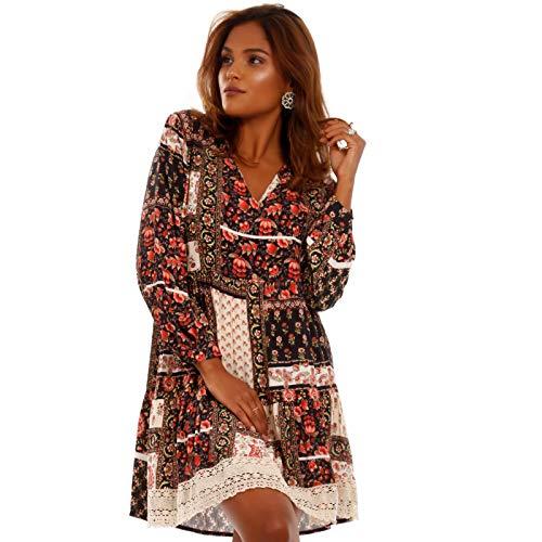 YC Fashion & Style Damen Tunika Kleid mit Patchwork Muster Boho Look Party-Kleid Freizeit-Minikleid oder Strandkleid Partykleid HP219 Made in Italy (One Size, Schwarz/ Model2) Party Kleid Outfit