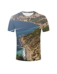 SHENMAHU Unisex 3D Print T-Shirt Splendid Ocean Nearby Mountain Graphic Casual Couple Tees
