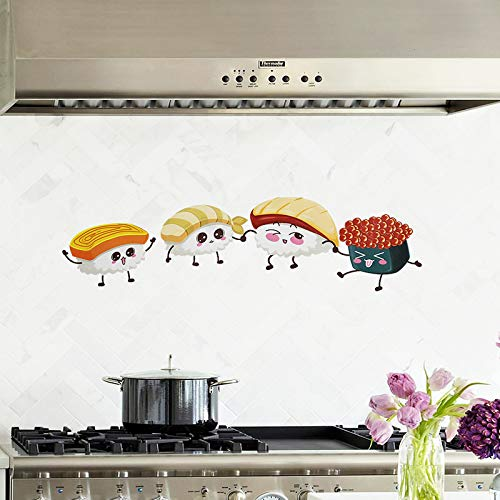 Wandaufkleber Küche Öl Aufkleber Zeichenpapier Wandfliesenaufkleber Hohe Temperatur Anti-Öl - Dämpfe Aufkleber Folie Anti-Rauch Tee 60 * 90Cm, Sushi Sushi Und Tee