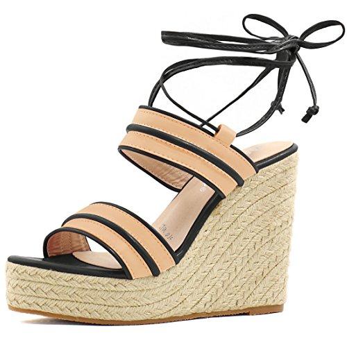 Allegra K Damen Knöchel Krawatte Espadrille keilförmige Streifen Schuh Sandale Beige Schwarz 40 EU/9.5 US