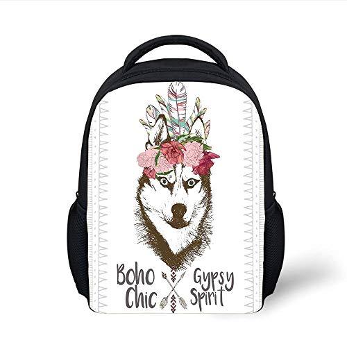 Kids School Backpack Feather House Decor,Aztec Floral Head Portrait of Siberian Husky Dog Tribal Arrow Kitsch Image,Multi Plain Bookbag Travel Daypack Aztec Cup