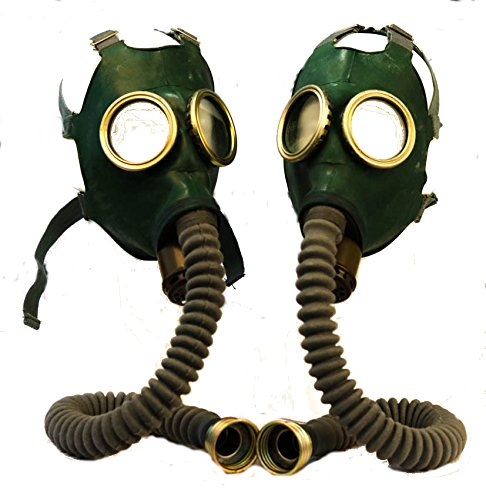 Set of two collectable Soviet Russian gas masks GP-4 in green – just masks new original rare (Gas Mask Green)