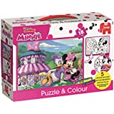 Jumbo Spiele 19670 Micky Maus und Freunde Disney Minnie Puzzle & Colour Medium