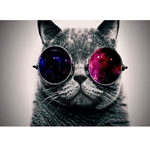 DIY 5D Diamant-Malerei, komplettes Rundbohrer-Set, Strassbild, Kunst für Zuhause, Wanddekoration, 30,5 x 40,6 cm, schwarze Katze mit Sonnenbrille