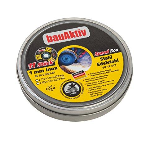 Bau-Aktiv SpeedPack Trennscheiben 11x Ø125 Metall Edelstahl 1mm extra dünn für Winkelschleifer AS 60 T INOX-BF Freihand oSa geprüft