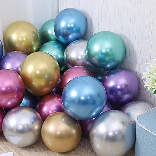 Metallische doppelte Latex Ballons 50pcs Chrom-Ballone 12inch mehrfarbige glänzende Ballone-Partei-Ballone für Hochzeit, Geburtstag, Partei Prinzessin Ariel, kleine Nixe-Partei