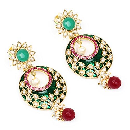 e10ba5594 Johareez Multistone Gold Plated Green Enamel Earrings - Indian Jewel ...