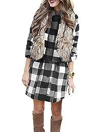Ninimour Women's Plaid Shirring Casual Shirt Dress