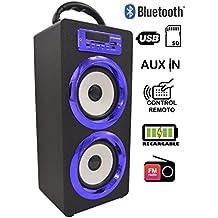Altavoz Bluetooth Reproductor MP3, DYNASONIC lector USB y Tarjetas SD, RadioFM, LINE IN 3.5mm, Manos libres, Subwoofer Modelos cromados, para PC MAC Televisión Móviles iPhone Android Samsung Smartphones Tablets (Color Azul)