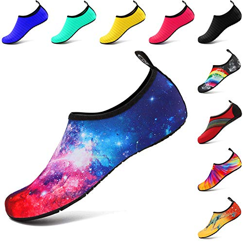 VIFUUR Wassersport Schuhe Barfuß Quick-Dry Aqua Yoga Slip-on für Männer Frauen Kinder Starry Rot EU38/39
