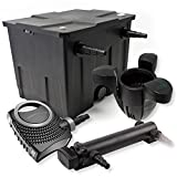 SunSun 1-Kammer Filter Set für 12000l mit 24W UVC 3er Teich Klärer NEO7000 50W Pumpe und Skimmer
