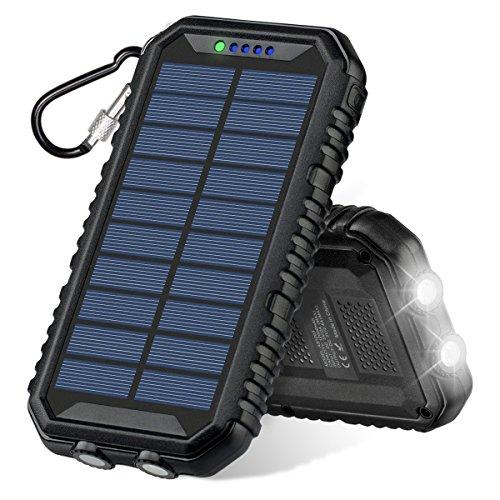 ADDTOP Solar Ladegerät 12000mAh, Solar Power Bank Dual USB 2.4A Port IP67 Wasserdicht Tragbar Externer Akku Batterie mit Led Taschenlampe für iPhone, iPad, Android-Handy,Samsung HUAWEI, usw