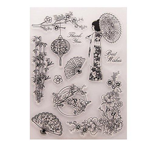 Tiyee Weihnachten Clear Stamps, Blumen Vogel Klar Silikon Dichtung Stempel DIY Album Scrapbooking Foto Karte Decor