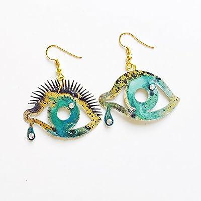Boucles d'oreilles bleues intenses - Boucles d'oreilles dames Dalí - Bijoux tendance - Bijoux pour oeils - Eye of Providence - Boucles d'oreilles à nez