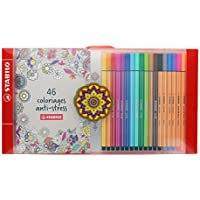 Stabilo Coffret antiestrés – 18 rotuladores punta media Pen 68 + un cuaderno, color varios colores estándar