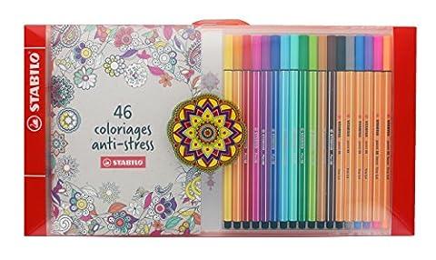 STABILO Coffret Anti-Stress - 12 feutres Pen 68 + 6 stylos-feutres point 88 + un carnet de 46 coloriages (Inspiration Florale)