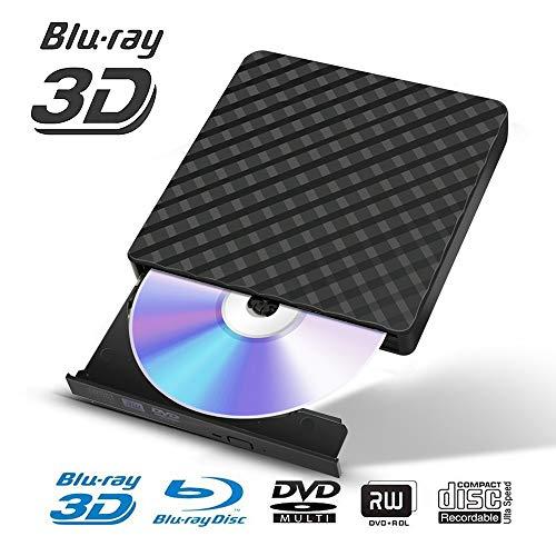 Fusutonus - lettore blu-ray esterno, masterizzatore dvd portatile cd 3.0 usb, riproduzione di dischi blu-ray 3d 6x, sottile e ultra veloce per win98/me/2000/xp, vista, win7, win8, mac os 8.6