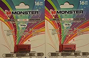 16 GB Moster USB Flash Drive Red (Quantity of 2)