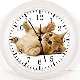 Cute Cat Kitten Wanduhr 25,4cm Will Be Nice Gift und Raum Wand Decor E306