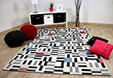 In & Outdoor Teppich Flachgewebe Carpetto Schwarz Weiss Pixel in 4 Größen