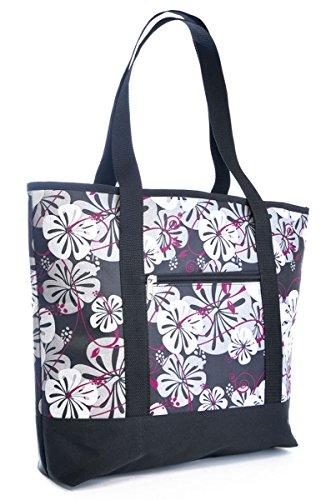 Grande stampa floreale estivo da spiaggia, campeggio, Picnic-Borsa con tracolla Rosa (rosa)