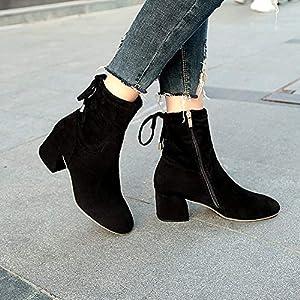 Top Shishang Frauen Sexy Vintage Scrub Spitzen Stiletto Martin Stiefel Chelsea Stiefel und Stiefeletten Western Ankle Boots Schwarz
