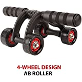 Fitsy Upgraded 4-Wheel Ab Roller With Knee Mat And Floor Wedge - Abdominal Workout Fitness Exercise Equipment