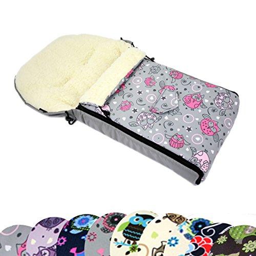 BAMBINIWELT universaler Winterfußsack (90cm oder 108cm), auch geeignet für Babyschale, Kinderwagen, Buggy, aus Wolle im Eulendesign (108cm, 2)