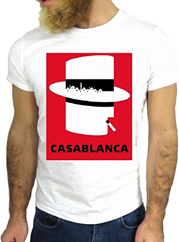 T-SHIRT JODE GGG24 Z1223 CASABLANCA HAT CIGARETTE AMERICA RED COOL GREAT CARTOON BIANCA - WHITE