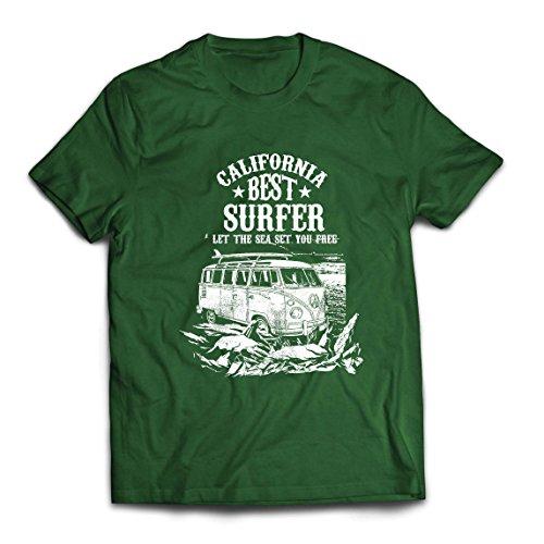 lepni.me Camisetas Hombre Mejor Surfista de California - Vacaciones de Verano EN La Playa, Estilo de Surf, Van, Diseño de Viajes (Small Verde Oscuro Multicolor)