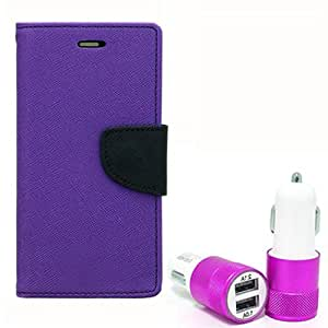 Aart Fancy Diary Card Wallet Flip Case Back Cover For Redmi Note - (Purple) + Dual ports USB car Charger With Ultra Power Technolgy by Aart Store.